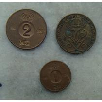 3037 - Suécia Ore 3 Moedas 1967,66,41 - Bronze 2 E 1 Ore