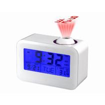 Relógio Despertador Digital Projetor Que Fala A Hora Branco