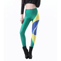 Legging Importada - Estampa Black Milk - Bandeira Do Brasil