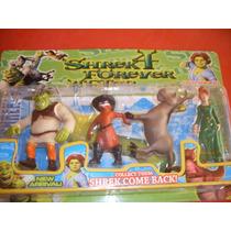 Coleção De 4 Bonecos De Vinil - Rei Shrek Burro Gato E Fiona
