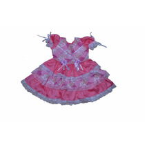 Vestido Infantil Festa Junina Caipira Luxo Rosa E Branco