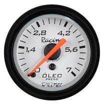 Pressão Do Óleo Willtec Plus Instrumento 52mm + Led Tuning