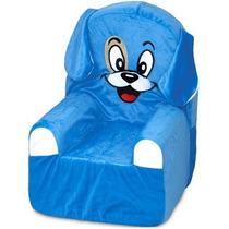 Sofá Infantil Bichofá De Espuma Cortex Cachorro Azul