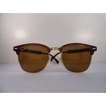 Óculos Solar Ray-ban Original Clubmaster Rb3016 Marrom