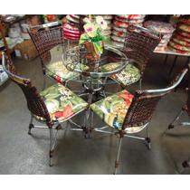 Conjunto De Mesa Circular E 4 Cadeiras Varanda Junco Rattan
