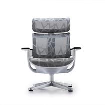 Cadeira Lounge Moln Em Mesh Prata E Frame Branco