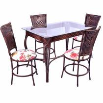 Mesa De Jantar Retangular Em Junco Com 4 Cadeiras