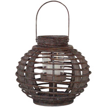 Lanterna Saigon Bowl Em Madeira Marrom