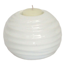 Castiçal Bola Ondulado Branco Em Pedra Dolomita