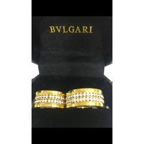 Aliança Bvlgari C/ Esvarovisq Banhada Em Ouro 18kilates