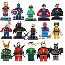 15 Pçs Marvel E Dc (5cm) Super Heróis Tipo Lego-frete Grátis