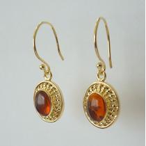Brinco Prata 925, Folheado Ouro 750-18k, Ambar, Cód. 5804