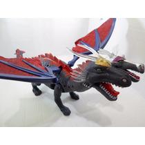 Dragão 2 Cabeças Dinossauro Anda Acende Olhos Mexe Boca Som