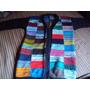 020 Crr- Casaco De Tricô- Feito Com Lã- Mesclado Colorido
