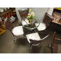 Conjunto De Mesa Circular E 4 Cadeiras Rattan Junco Varanda
