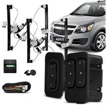 Kit Vidro Eletrico Agile 4 Portas Dianteiro + Alarme