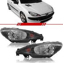 Farol Peugeot 206 2000 2001 2002 2003 A 2008 Máscara Negra