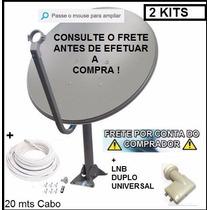 2kit Antena 60cm Banda Ku +2 Lnb Duplos +2 Kit20mts De Cabo