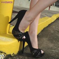 Sapato Feminino Peep Toe Via Marte 16-1302 (frete Grátis)