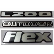 Kit Emblema L200 Outdoor Flex Resinado Promoção !!!