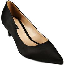 37 Sapato Scarpin Emporio Naka Dourado Preto Couro Legítimo