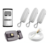 Kit Interfone 4 Pontos + 3 Fone + Fechadura Invertida + Cabo