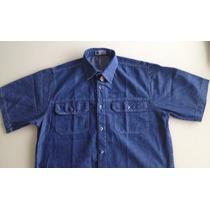 Camisa Jeans Manga Curta C/ 2 Bolsos Direto Da Fábrica
