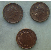 3119 Inglaterra One Penny 3 Moedas 1996,1990,2001 - 20mm