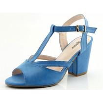 Sandália Glamm Salomé Salto Quadrado Azul - Sapatos Mania
