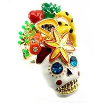 Anel Feminino Skull/caveira Nº18 Dourado Cravejado De Strass