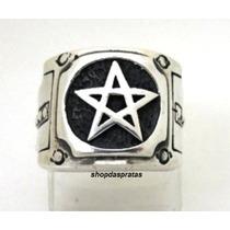 Anel Em Prata Estrela De Cinco Pontas Pentagrama - Ma2030