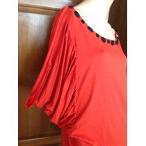 Blusa Malha Vermelha Com Pedras Pretas