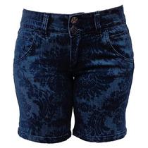 Bermuda Jeans De Estampa Floral - 38 Ao 54 (tamanho Grande)
