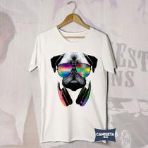 Camiseta Masculina Pug Dj Cão Pet Techno Trance Rave Funny