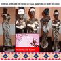 Estatueta Em Gesso Africana C/ Bebe - Pintada A Mão