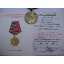 Medalha Soviético 40 Anos Da Vitória Na 2º Guerra. Original