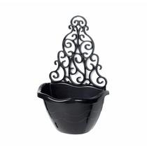 10 Vasos Arandela Preto P/ Jardim Vertical Decoração