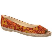 Sapatilha Feminina Piccadilly Peep Toe Tecido Colorida105009