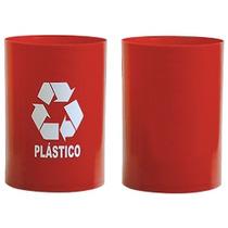 Cesto Vermelho C/ Adesivo Plástico Sem Tampa 14l - Bralimpia