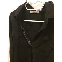 Camisa Preta Em Chifon Com Detalhes Bordados