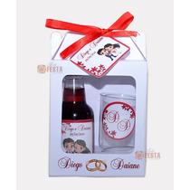 12 Kits Mini Vinho Ou Mini Cachaça Com Taça, Caixinha, Arte