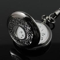 Relógio De Bolso Em Aço Preto Mod. 313 - Pronta Entrega