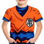 Camiseta Infantil Goku Dragon Ball Z Fantasia Estampa Total