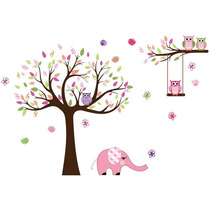 Adesivo Para Quarto De Menina Corujas E Elefante 2,00m Rosa