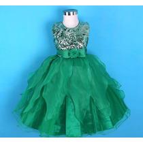 Vestido Infantil/festa/daminha Verde Com Paetês
