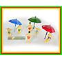 3 Unid Guarda Sol + 6 Figuras Praia E Piscina Ho 1:87