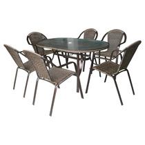 Conj Jardim Mesa 06 Cadeiras Aluminio Kalahari+ Ombrelone