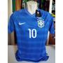 Camisa Brasil Azul Com Patchs Da Copa 2014 #10 Neymar Jr