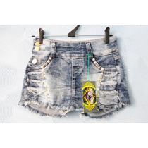 Short Saia Skort Jeans Lavagem 38 Strass Perola