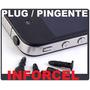 3x Unidades -plug Piercing P2 3,5mm Preto - Iphone Galaxy Lg